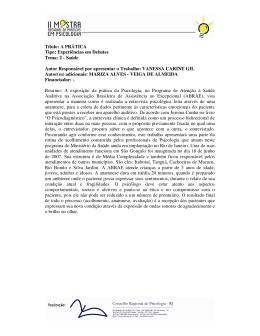 Título: A PRÁTICA Tipo: Experiências em Debates Tema - CRP-RJ