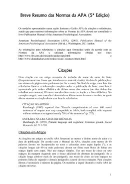 Breve Resumo das Normas da APA (5ª Edição)