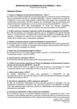 REGISTRO DE OCORRÊNCIAS ELETRÔNICO – RO