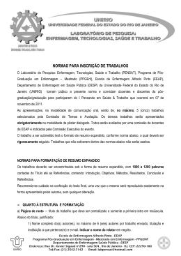 NORMAS PARA INSCRIÇÃO DE TRABALHOS