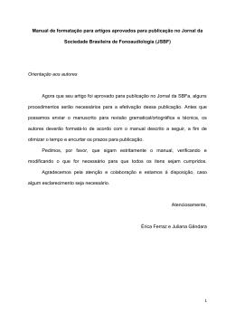 Manual de formatação - Sociedade Brasileira de Fonoaudiologia