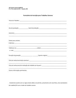 Formulário de Inscrição para Trabalhos Sonoros