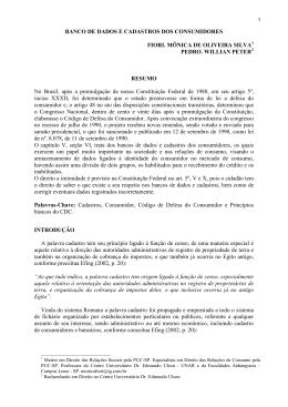 BANCO DE DADOS E CADASTROS DOS CONSUMIDORES FIORI