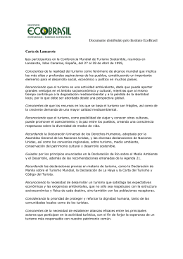Documento distribuído pelo Instituto EcoBrasil Carta de Lanzarote