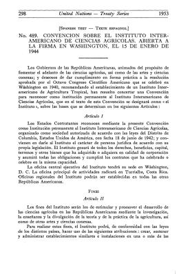 No. 489. CONVENCION SOBRE EL INSTITUTO INTER