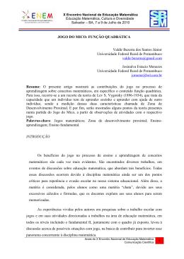 JOGO DO MICO: FUNÇÃO QUADRÁTICA Valdir Bezerra dos