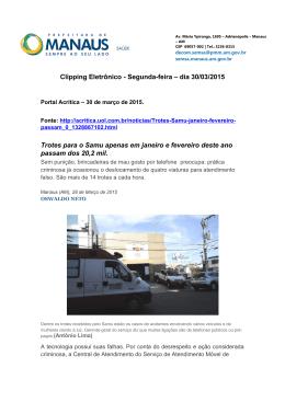Clipping Eletrônico - Segunda-feira – dia 30/03/2015