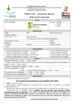 PRONATEC – Brasil Sem Miséria Ficha de Pré