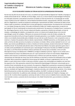 ATA Nº 06 REUNIÃO PLENÁRIA DO FÓRUM GAÚCHO DA APRENDIZAGEM