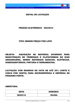 edital de licitação pregão eletrônico 020/2014 tipo: menor preço por