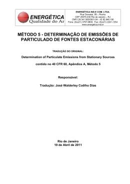 MÉTODO 5 - DETERMINAÇÃO DE EMISSÕES DE