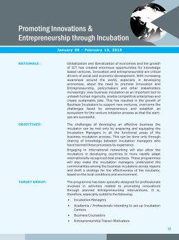 Promoting Innovations & Entrepreneurship through