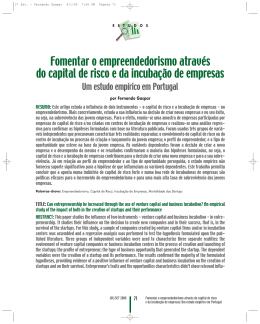 Fomentar o empreendedorismo através do capital de risco