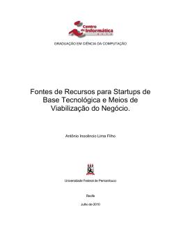 Fontes de financiamento para startups de base tecnológica e