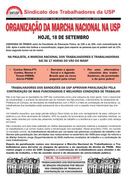 ORGANIZAÇÃO DA MARCHA NACIONAL NA USP