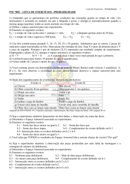 LISTA DE EXERCÍCIOS – INE 5122 – PROBABILIDADE E