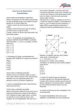 Exercícios de Matemática Probabilidade