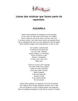Letras das músicas que fazem parte do repertório
