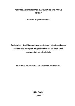 Trajetórias Hipotéticas de Aprendizagem relacionadas às - PUC-SP
