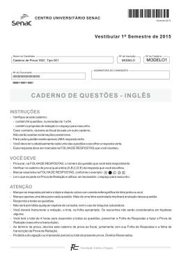 CADERNO DE QUESTÕES - INGLÊS