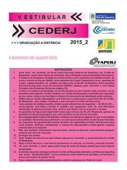 Caderno de Questões Vestibular cederj 2015_2