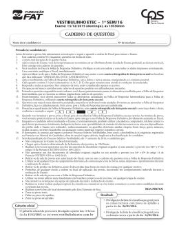 VESTIBULINHO ETEC – 1o SEM/16 CADERNO DE QUESTÕES