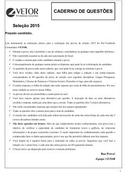 CADERNO DE QUESTÕES - Pré-Vestibular Comunitário Vetor