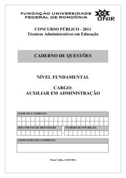 CADERNO DE QUESTÕES NÍVEL FUNDAMENTAL CARGO