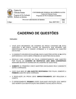 CADERNO DE QUESTÕES