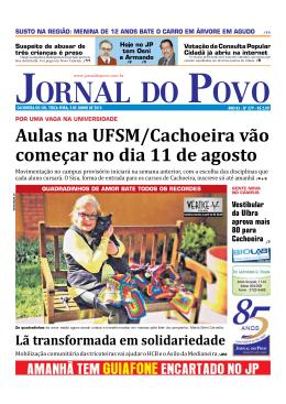 Aulas na UFSM/Cachoeira vão começar no dia 11