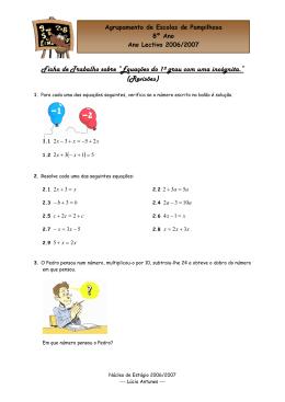 """Ficha de Trabalho sobre """"Equações do 1º grau com uma incógnita"""