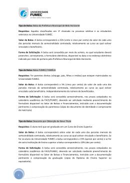 1 Tipo de Bolsa: Bolsa da Prefeitura Municipal de Belo Horizonte