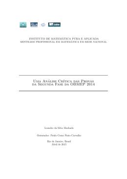 Uma análise crítica das provas da segunda fase da OBMEP