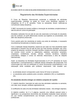 Regulamento das Atividades Supervisionadas - PUC-SP