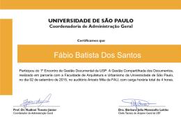 Fábio Batista Dos Santos - Universidade de São Paulo