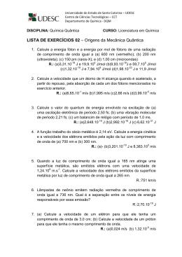 LISTA DE EXERCÍCIOS 02 – Origens da Mecânica Quântica
