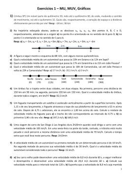 Exercícios 1 – MU, MUV, Gráficos