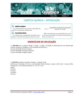 CINÉTICA QUÍMICA – INTRODUÇÃO - Portal de Estudos em Química