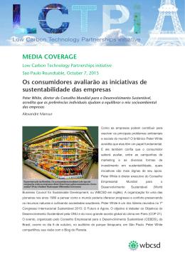 MEDIA COVERAGE Os consumidores avaliarão as iniciativas de