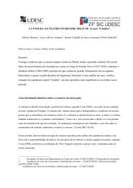 """A censura ao teatro no regime militar– o caso """"calabar"""" - Ceart"""