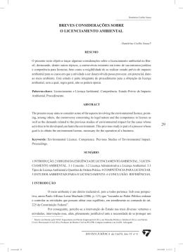 29 breves considerações sobre o licenciamento ambiental