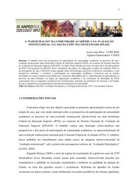 """a """"participação"""" da comunidade acadêmica na avaliação institucional"""