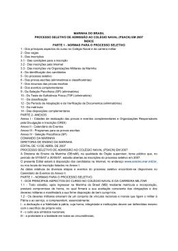 MARINHA DO BRASIL PROCESSO SELETIVO DE ADMISSÃO AO