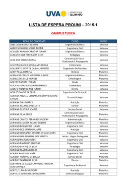 lista de espera prouni – 2015.1 campus tijuca