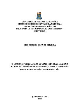 O USO DAS TECNOLOGIAS SOCIAIS HÍDRICAS NA ZONA RURAL