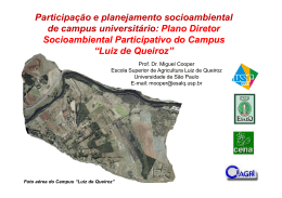 Plano Diretor Socioambiental Participativo do Campus
