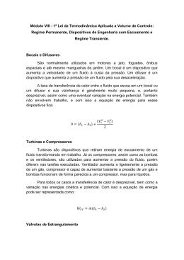 Módulo VIII - 1ª Lei da Termodinâmica Aplicada a Volume de Controle