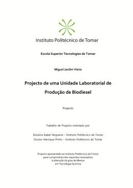 Projecto de uma Unidade Laboratorial de Produção de Biodiesel