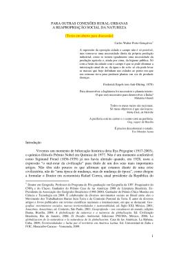 Conexões Cidade-Campo, por Carlos Walter, professor da UFF