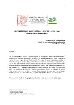 (BULLYING ESCOLAR, QUESTÃO SOCIAL E SERVIÇO - cress-mg